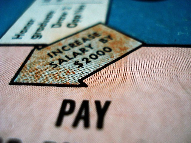 """Monopoly board modified with """"Increase salary by $2000"""" //""""Salary"""" flickr photo by jabberwocky381 https://flickr.com/photos/jabberwocky381/2829700156 shared under a Creative Commons (BY-SA) license"""