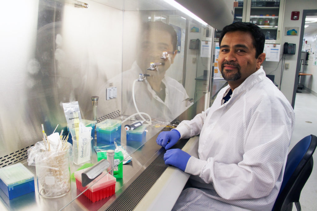 Scientist performing cancer research study